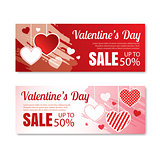Valentine's day sale offer, banner template.Shopping market post