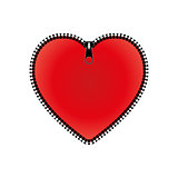 Red heart with zipper, vector illustration.
