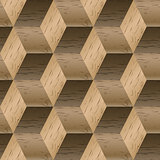 Seamless pattern of wooden cubes, vector illustration.