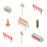 Set of road signs repairs in isometric, vector illustration.