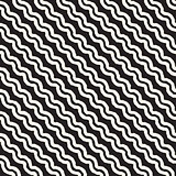 Roughly Drawn Wavy Stripes Stylish Graphic Texture. Vector Seamless Black and White Pattern