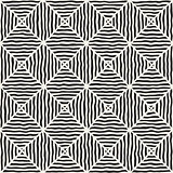 Rhombus Rough Hand Drawn Lines. Vector Seamless Black and White Pattern