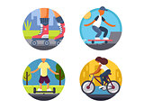 Ride bicycles or roller skate icons set