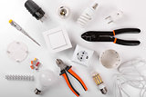 electrical tools and equipment on white background. top view