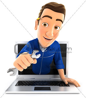 3d mechanic coming out of laptop with wrench