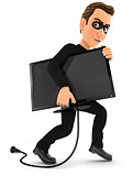 3d thief stealing a television