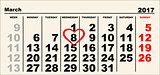 Calendar March 8. Heart shape reminder International Womens Day
