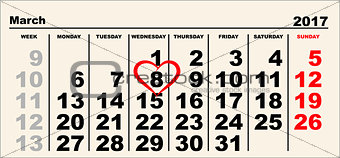 Calendar March 8. Heart shape reminder International Womens Day