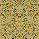 Yellow berries seamless pattern background