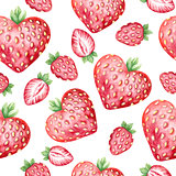 Seamless pattern with hand drawn watercolor strawberries
