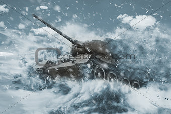 Battle Tank is moving in the snow storm