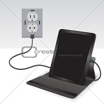 black tablet charged usb