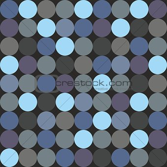 Tile vector pattern with polka dots on black background