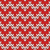 Tile red and white knitting vector pattern