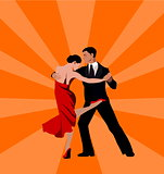 International tango day (dancing couple: man and woman)