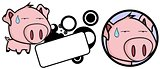 funny pig big head expression copyspace