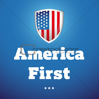 America First banner with USA flag