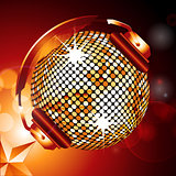 Golden disco ball with headphones