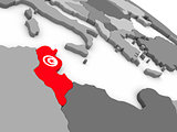 Tunisia on globe with flag