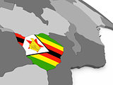 Zimbabwe on globe with flag