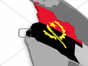 Angola on globe with flag