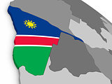 Namibia on globe with flag