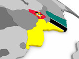 Mozambique on globe with flag