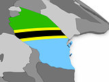 Tanzania on globe with flag