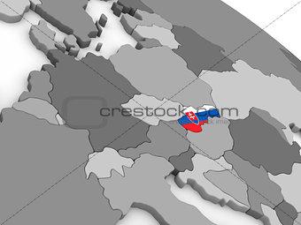 Slovakia on globe with flag