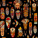 Tribal mask ethnic, seamless pattern, sketch for your design