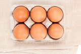 Natural organic chicken eggs, top view.