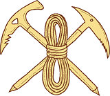 Mountain Climbing Pick Axe Rope Crossed Drawing