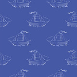 Sea Ships Silhouettes Seamless Pattern.