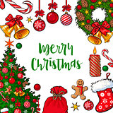 Greeting card, poster, banner template with Christmas decorations