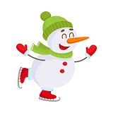 Cute and funny little snowman ice skating happily, vector illustration