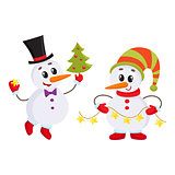Cute and funny little snowman holding a garland, vector illustration