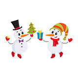 Cute and funny little snowman holding a gift box, vector illustration