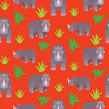 Rhino cartoon vector seamless red pattern.