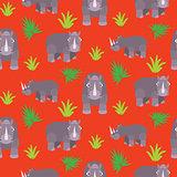 Rhino cartoon vector seamless red pattern.