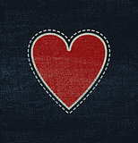 Blue jeans fabric with heart