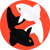 Zodiac Pisces. Two fish, symbol of yin and yang