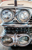 Headlights detail in a classic luxury car