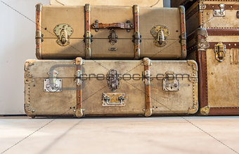 Antique luggage suitcases on the floor