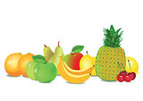 Various fruits in a row
