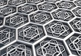 hexagonal abstract with water background 3d illustration