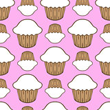 White cream cupcake seamless pattern