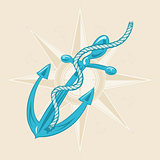 Anchor and ribbon on beige background.