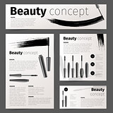 Mascara fashion cards, banners, flyer or brochure with realistic vector cosmetic objects