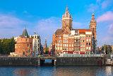 Amsterdam canal and Basilica Saint Nicholas