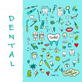 Dental clinic icons set, sketch for your design